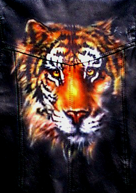 Custom airbrushed leather tiger